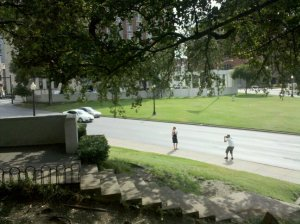 The Linear Progression from Dealey Plaza to 9-11 and War with Iran: Mark Dankof photo of Elm Street from the Grassy Knoll in Dallas, September 1st, 2010.
