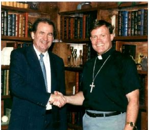 Pat Buchanan and Mark Dankof in San Antonio, Texas.  1995.
