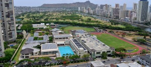 Iolani School in Honolulu:  Diamond Head, Ala Wai Canal, and Waikiki are prominent.