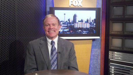 "Mark Dankof at KABB-FOX 29 in San Antonio for an appearance on Press TV/Iran's ""The Debate."""