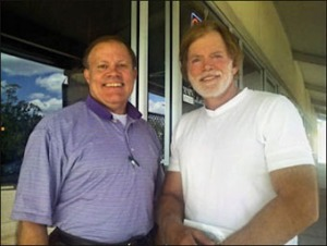 Mark Dankof and Dr. David Duke after a conversation.
