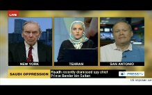 "Mark Dankof of The Ugly Truth and ex-US Ambassador to Saudi Arabia Richard Murphy on Press TV's ""The Debate"" with hostess Homa Lezgee."